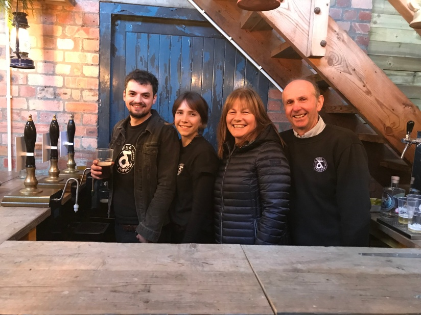 Theo, Pippa, Louise and Robert Howie at the bar